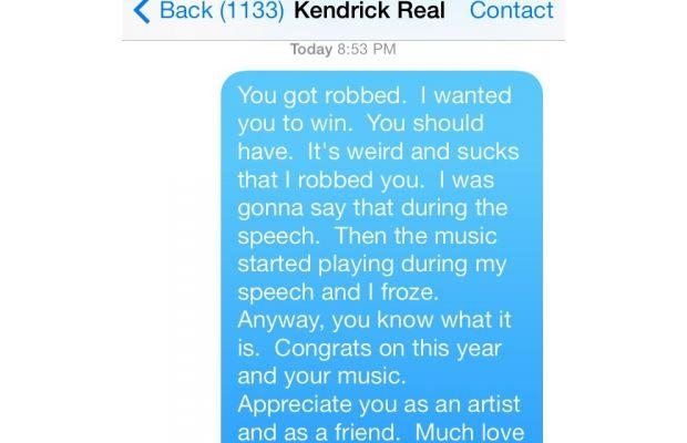 Mackelmore Texts Kendrick Lamar