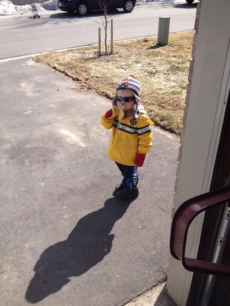 Carter toddler eating banana